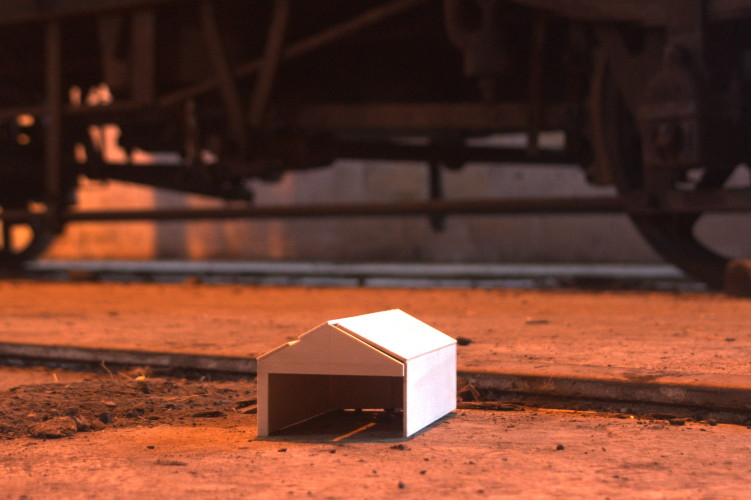 Untitled (installation at Tanfield Railway) 2013. Balsa wood model – 00 Guage Engine Shed, dimensions variable